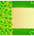 Green clovers background with golden coins vector image vector image