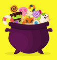 halloween party cauldron colorful sweets cupcakes vector image vector image