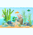 hand drawn aquarium with fish and seaweed icons vector image vector image