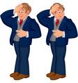 Happy cartoon man standing in blue suit touching vector image vector image