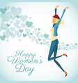 happy womens day card fun girl with blue hearts vector image vector image