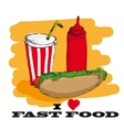 I love fast food card design vector image vector image
