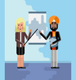 indian and european speakers doing presentation vector image vector image
