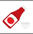 ketchup bottle and empty tomato ketchup bowl vector image vector image