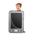 man holding a large tablet pc vector image vector image