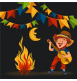 man with mustache plays guitar near fire under vector image