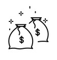 money bag or coins in sack isolated line icon vector image vector image