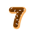number 7 donut doughnut font seven sweet alphabet vector image vector image