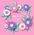 paper cut 3d flower frame in pink white and vector image vector image