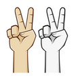 peace hand sign vector image vector image