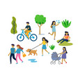 people in urban park outdoor activities vector image vector image