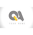 qa black lines letter logo creative line letters vector image vector image