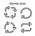 recycle arrow icon set in thin line style vector image vector image