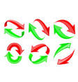 red and green 3d arrows recycle signs set vector image