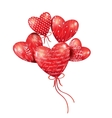 Red hearts-balloons in the blue sky vector image vector image