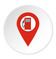 red map pin with gas station sign icon circle vector image vector image