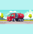 red truck with gasoline in tank vector image vector image