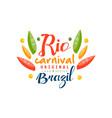 rio carnival original logo design brazil festive vector image vector image