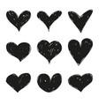 set black grunge hearts vector image vector image