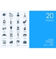 Set of BLUE HAMSTER Library France icons vector image vector image