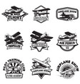 set of flying academy emblems vintage airplanes vector image vector image