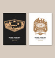 set rv camping badges posters banners flyers vector image