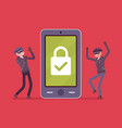 smartphone under reliable protection vector image
