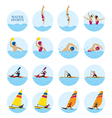 Sports Athletes Water Sports Icons Set vector image vector image