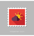 Sun and cloud flat stamp Meteorology Weather vector image vector image