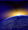 sunrise dawn space planet warm shine vector image