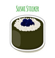 sushi sticker asian food with caviar rice- label vector image vector image