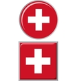 Swiss round and square icon flag vector image
