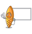 thumbs up with board canoe character cartoon style vector image vector image