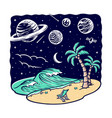view beach at night vector image vector image