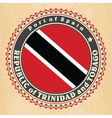 Vintage label cards of Trinidad and Tobago flag vector image vector image