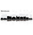 waterloo iowa city skyline silhouette with black vector image vector image