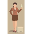 young woman holding a newspaper vector image vector image