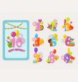 birthday numbers cartoon anniversary birth vector image