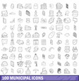 100 municipal icons set outline style vector image vector image