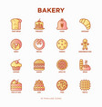 bakery thin line icons set vector image