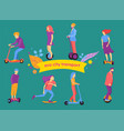 banner with people on ecological transport vector image