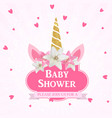 bashower with unicorn invitation vector image vector image