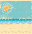 beach scenevintage sea landscape with waves and vector image vector image