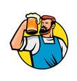 bearded hipster toasting beer mug circle mascot vector image vector image