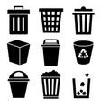 black bin icon set on white background vector image vector image