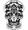 Black leafs skull vector image