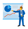 businessman in suit shows a poster with charts vector image