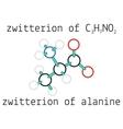 C3H7NO2 zwitterion of alanine amino acid molecule