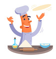 Cartoon chef making pizza dough vector image