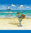 cocktail on the summer beach vector image vector image